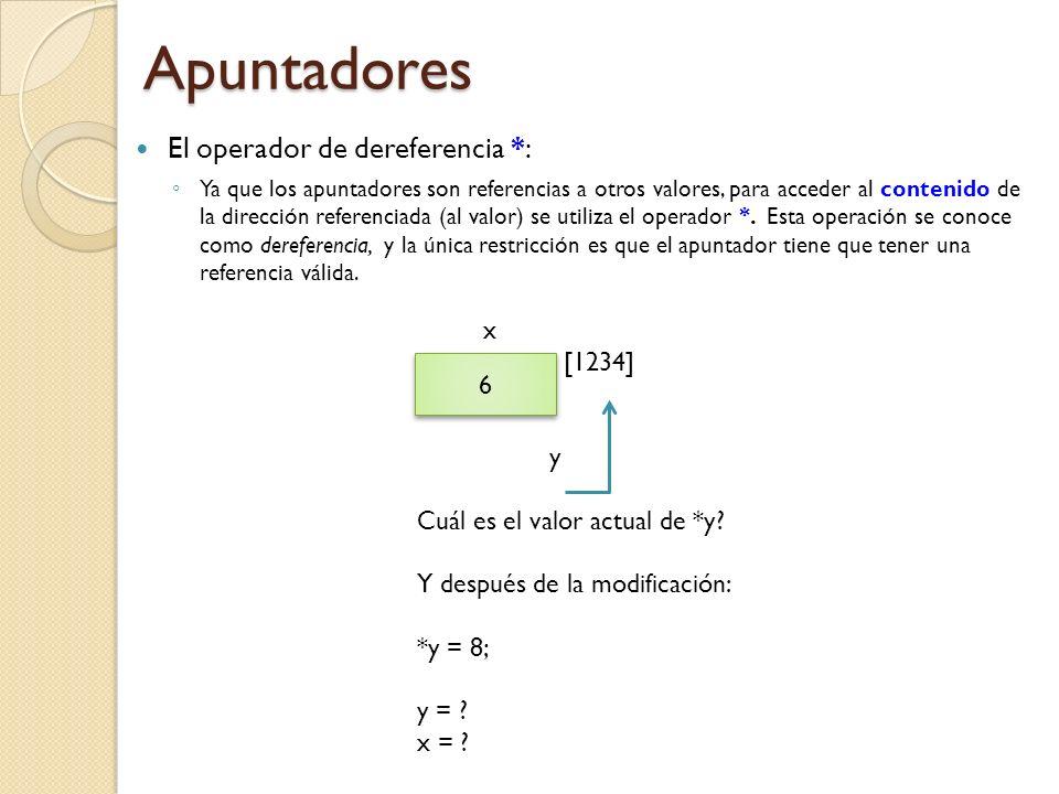 Apuntadores El operador de dereferencia *: x [1234] y 6
